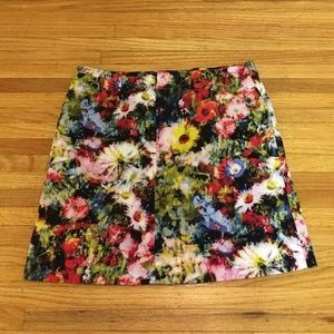 Chelsea and Theodore floral lined mini skirt